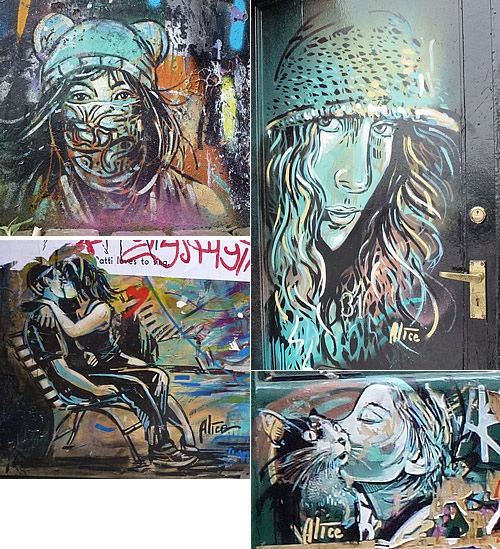 street art alice pasquini s blog various street art in london from left to right young girl off brick lane w near white church lane kissing couple on blackall street cat and w
