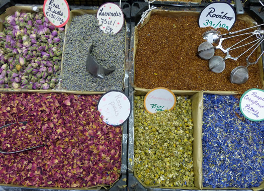 i loved the spice stall with the beautiful spices and herbs rose buds and cornflower petals could be bought